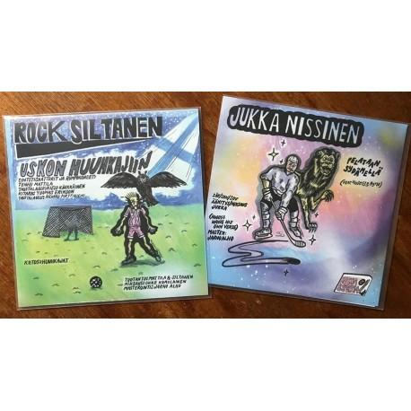 """Rock Siltanen / Jukka Nissinen: Uskon Huuhkajiin (split 7"""")"""